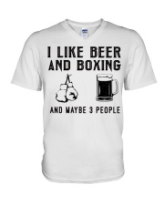 i-like-beer-and-boxing-and-maybe-3-people V-Neck T-Shirt tile