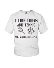 I-like-dogs-and-tennis-and-maybe-3-people Youth T-Shirt tile