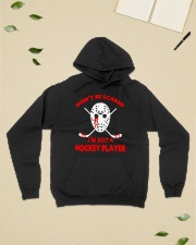 Hockey-Dont-Be-Scare-Im-Just-Hockey-Player Hooded Sweatshirt lifestyle-unisex-hoodie-front-6