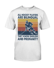 All-hockey-player-are-bilingual Premium Fit Mens Tee tile