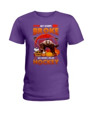 Hockey-My-Knife-Broke-Play-Hockey Ladies T-Shirt tile