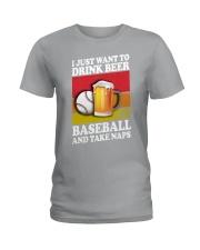 Baseball-Drink-Beer Ladies T-Shirt tile
