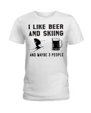 I-like-beer-and-skiing-and-maybe-3-people Ladies T-Shirt tile