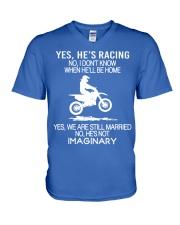 Motocross-He-is-Racing-Imaginary V-Neck T-Shirt tile