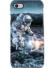 Astronaut in suit touching atom molecule Phone Case thumbnail