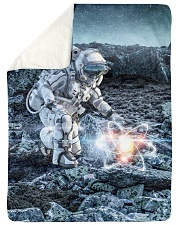 "Astronaut in suit touching atom molecule Large Sherpa Fleece Blanket - 60"" x 80"" thumbnail"