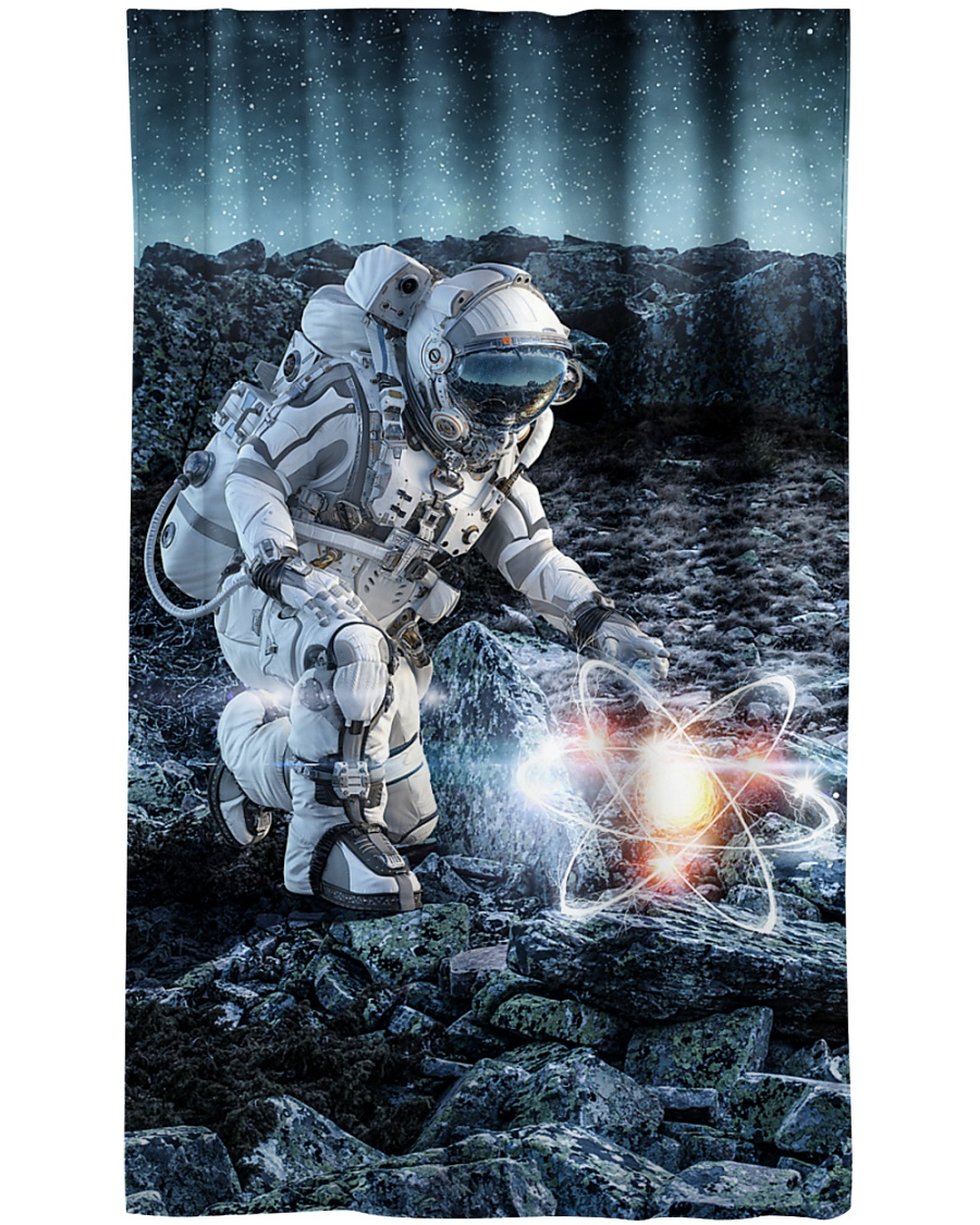 Astronaut in suit touching atom molecule Window Curtain - Blackout