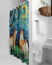 Smiling Corgi Night Canvas Shower Curtain aos-shower-curtains-71x74-lifestyle-front-03