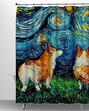 Smiling Corgi Night Canvas Shower Curtain aos-shower-curtains-71x74-lifestyle-front-06