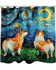 Smiling Corgi Night Canvas Shower Curtain thumbnail