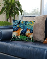 Smiling Corgi Night Canvas Square Pillowcase aos-pillow-square-front-lifestyle-02
