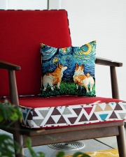Smiling Corgi Night Canvas Square Pillowcase aos-pillow-square-front-lifestyle-09