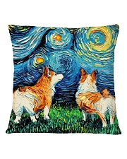 Smiling Corgi Night Canvas Square Pillowcase back