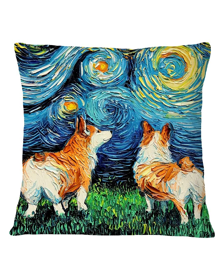 Smiling Corgi Night Canvas Square Pillowcase