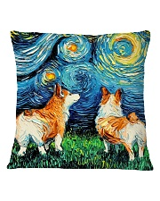 Smiling Corgi Night Canvas Square Pillowcase front