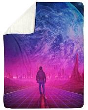 """Man Walking music universe Large Sherpa Fleece Blanket - 60"""" x 80"""" thumbnail"""