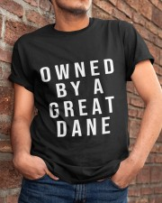 Funny Great Dane Shirts - Owned by a Great Dane  Classic T-Shirt apparel-classic-tshirt-lifestyle-26
