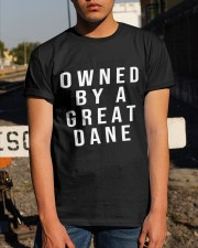 Funny Great Dane Shirts - Owned by a Great Dane  Classic T-Shirt apparel-classic-tshirt-lifestyle-29