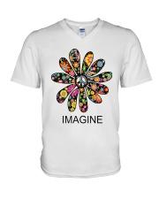 Imagine Flowers Hippie D0063 V-Neck T-Shirt thumbnail