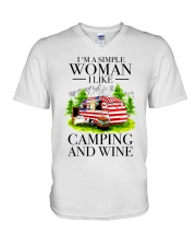 I Like Camping And Wine V-Neck T-Shirt tile