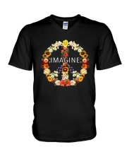 Imagine Flowers Hippie  V-Neck T-Shirt thumbnail