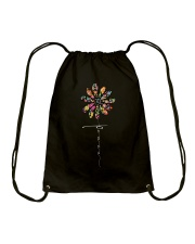 Peace Hippie Flowers A0144 Drawstring Bag thumbnail