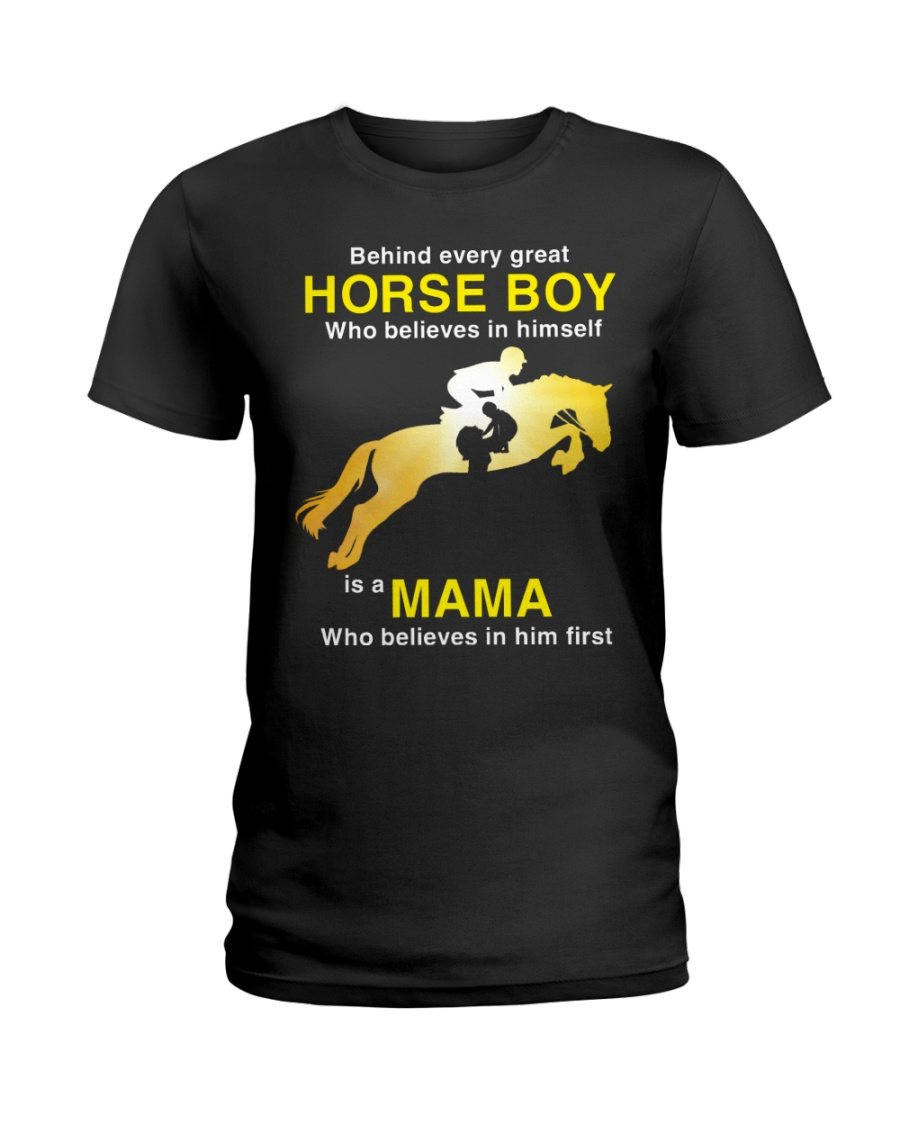 Behind every Great Horse Boy is a MaMa Ladies T-Shirt