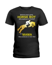 Behind every Great Horse Boy is a MaMa Ladies T-Shirt front