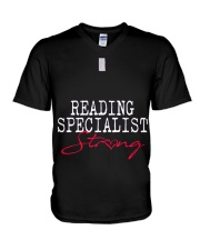 Reading Specialist Strong Sch V-Neck T-Shirt tile