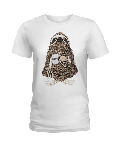 Mature sloth drinking sloffee