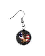 Cat Lover Antique Locket Collection with US Flag Circle Earrings thumbnail