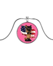 Cat Lover Antique Locket Collection with US Flag Metallic Circle Necklace thumbnail
