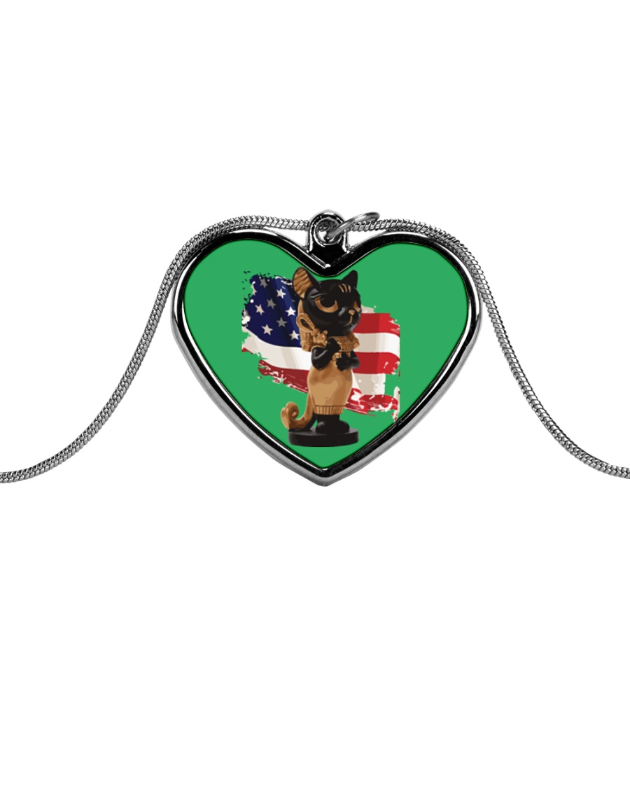 Cat Lover Antique Locket Collection with US Flag Metallic Heart Necklace