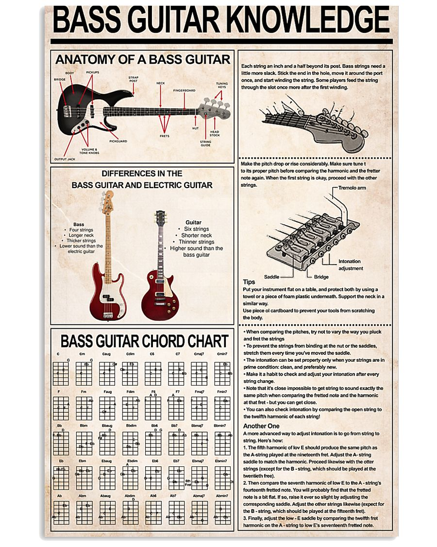 BASS GUITAR KNOWLEDGE 11x17 Poster
