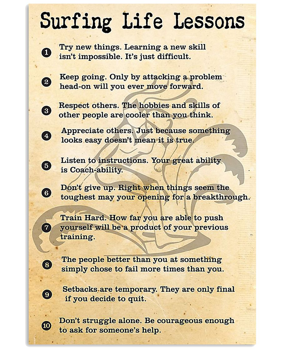 SURFING LIFE LESSONS 24x36 Poster