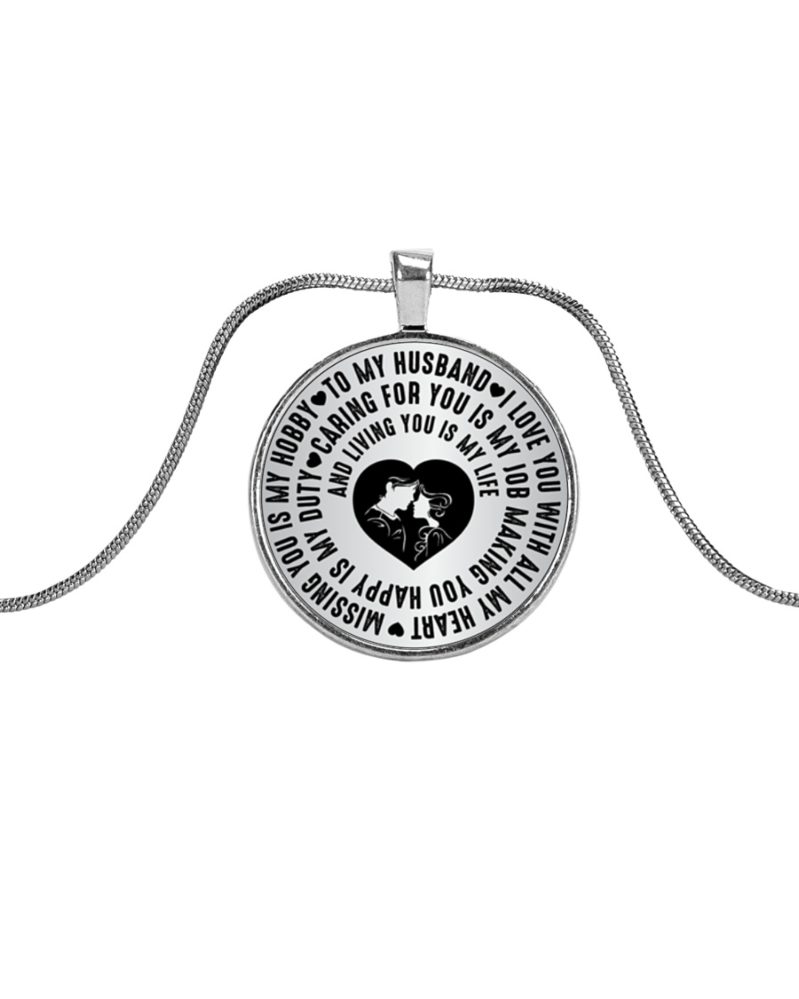 TO MY HUSBAND Metallic Circle Necklace