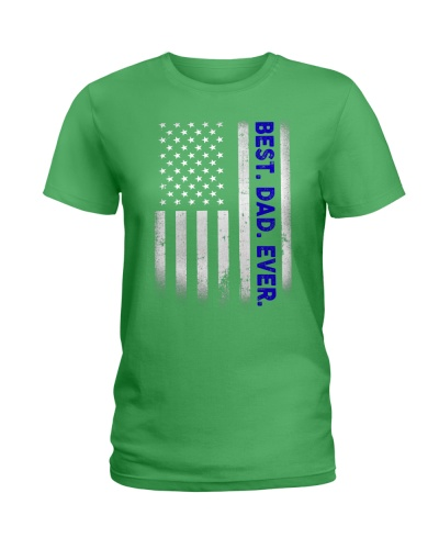 Best Dad Ever American Flag Police T-