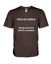 Programmer stores stuff in a container V-Neck T-Shirt thumbnail