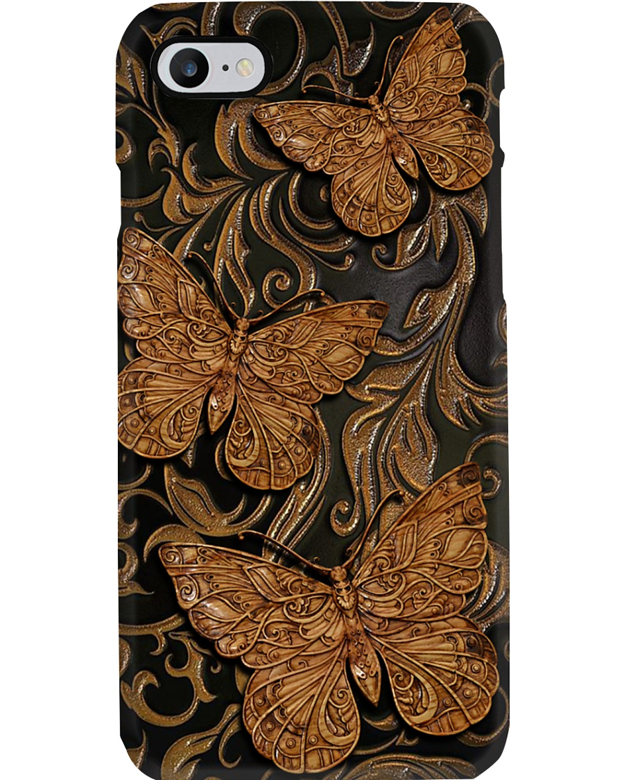 Butterfly Faux wood print Phone Case