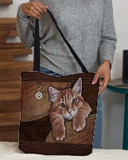 Cat Lovers Leather Pattern Print All-over Tote aos-all-over-tote-lifestyle-front-10