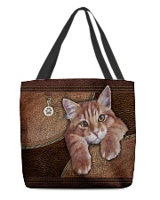 Cat Lovers Leather Pattern Print All-over Tote back