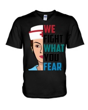 WE FIGHT WHAT YOU FEAR V-Neck T-Shirt thumbnail