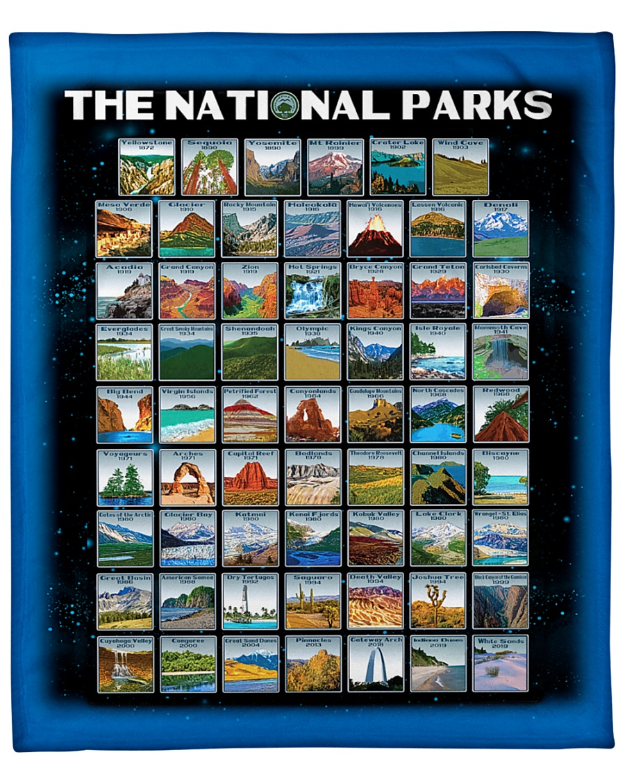 "BLK - 62 National parks US  Fleece Blanket - 50"" x 60"""