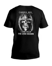 Old man skull V-Neck T-Shirt thumbnail