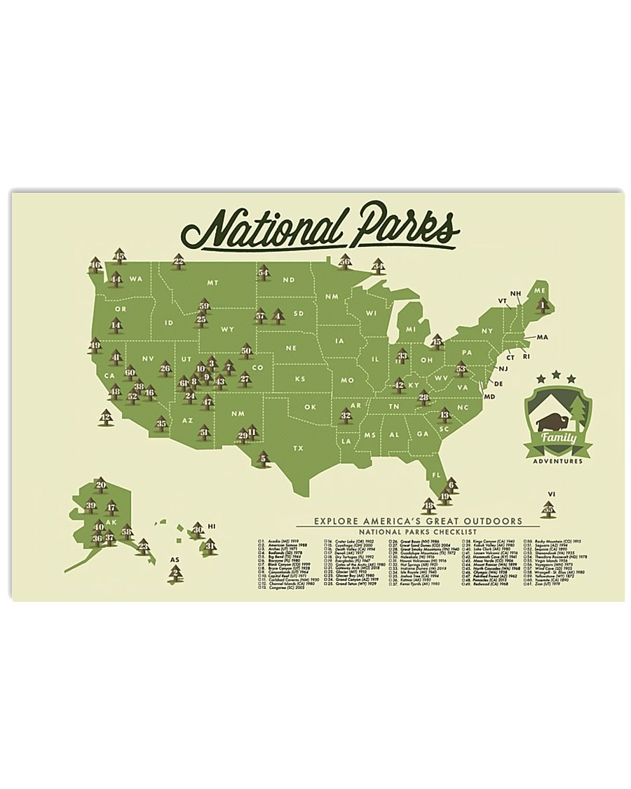 NATIONAL PARKS CHECKLIST 24x16 Poster