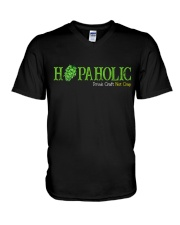 HOPAHOLIC DRINK CRAFT NOT CRAP V-Neck T-Shirt thumbnail