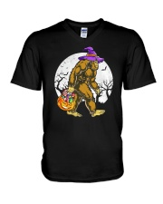 HALLOWEEN BIGFOOT V-Neck T-Shirt tile
