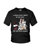 CANNOT SURVIVE ON WINE BUT ALSO NEEDS HUSKIES Youth T-Shirt thumbnail