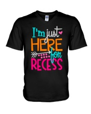 I'M JUST HERE FOR RECESS V-Neck T-Shirt thumbnail