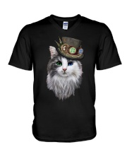 CAT WITH HAT V-Neck T-Shirt thumbnail